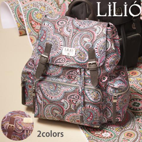 LiLiO【LIL9502】 リュック  大容量  ペイズリー柄 グレー ゴールド