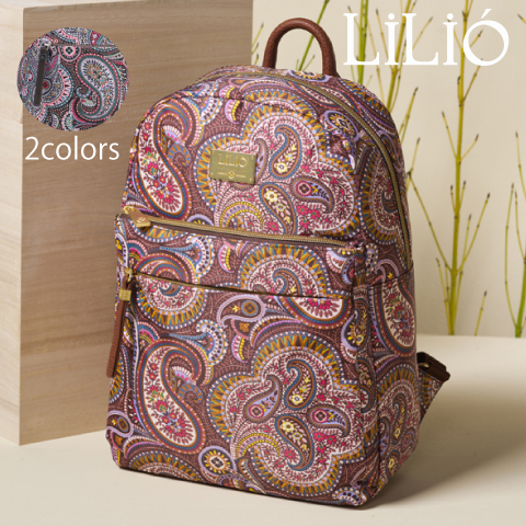 LiLiO【LIL9503】リュック  デイリー 旅行用 軽量  ペイズリー柄 グレー ゴールド