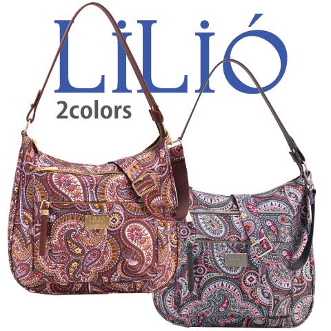 LiLiO【LIL9506】2way バッグ ワンショルダー 斜め掛けショルダーストラップ付 ペイズリー柄 グレー ゴールド