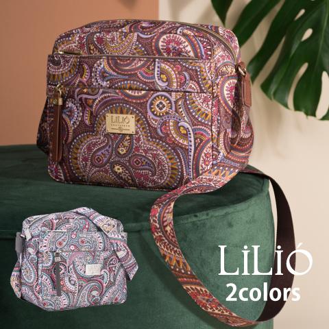 LiLiO【LIL9507】 ショルダーバッグ 肩掛け斜め掛け ペイズリー グレー ゴールド