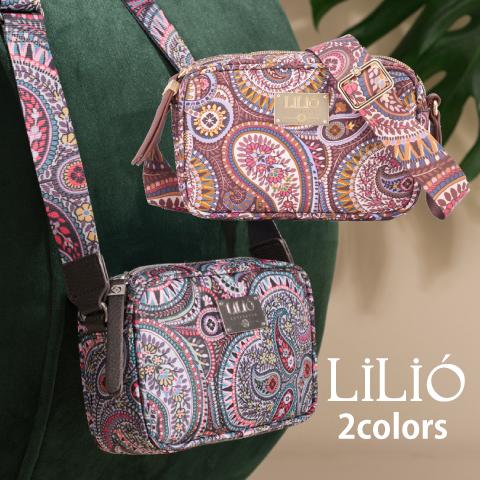 LiLiO【LIL9508】ミニショルダーバッグ ペイズリー柄 小さめ グレー ゴールド