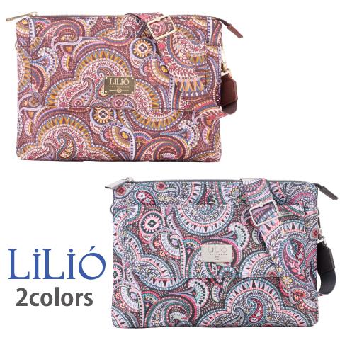 LiLiO【LIL9509】フラットショルダーバッグ 取り外し可能ショルダーストラップ付 クラッチバッグ ペイズリー柄 グレー ゴールド