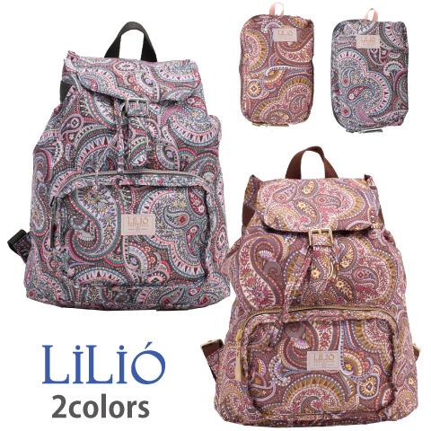 LiLiO【LIL9511】折りたたみリュック 携帯用サブバッグ ペイズリー柄 グレー ゴールド