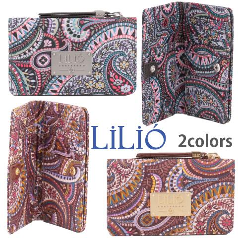 LiLiO【LIL9514】クレジットカードケース ペイズリー柄 グレー ゴールド