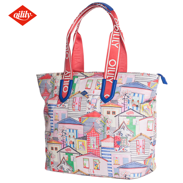 OILILY【OIL0141】ショッパー トートバッグ 街並みプリント