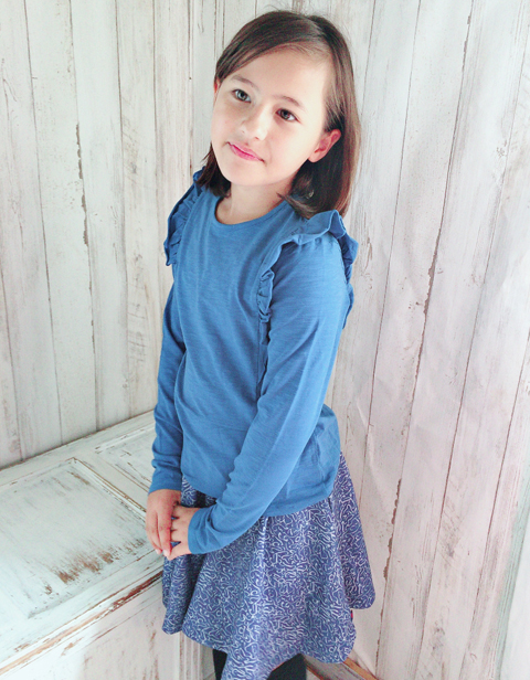 OILILY【YF18GJE201】ブルー肩フリルTシャツ 92/104/116/128/140/152サイズ