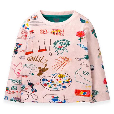 【YF19GJE001】落書きアート柄 長袖Tシャツ 80-128cm