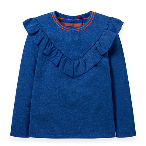 【YF19GJE003】ブルーラメフリル長Tシャツ 92-152cm