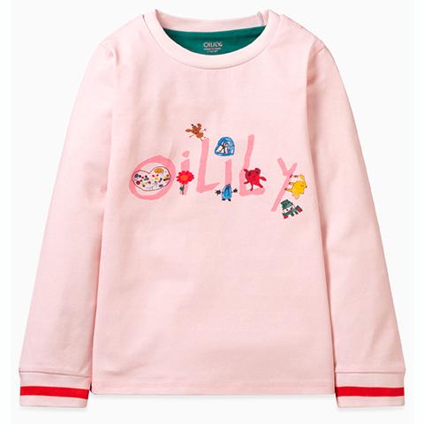 【YF19GJE005】落書きアート OILILYロゴ長袖 Tシャツ 80-128cm