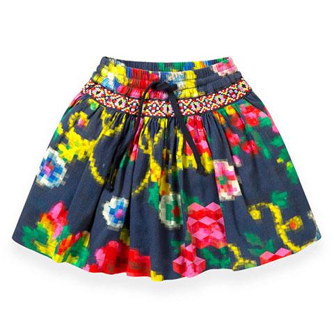 【YF19GSK205】モザイクフラワー柄スカート 92-152cm