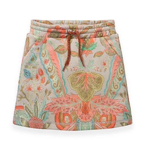 【YF19GSK261】シルバーラメ入り 花柄スウェット素材スカート 104-152cm