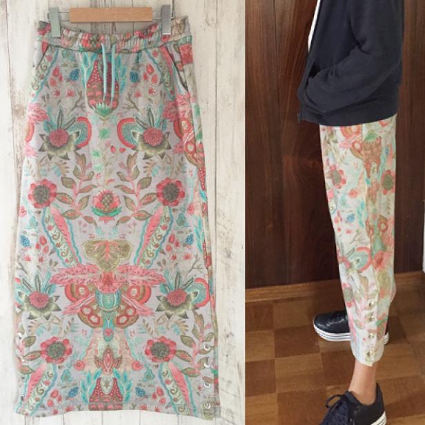 【YF19GSK261】シルバーラメ入り 花柄スウェット素材ロングスカート 164cm/ジュニア・大人サイズ