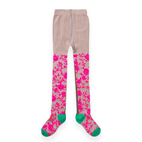 【YF19GTI209】グレー ネオンカラーピンク お花柄タイツ 92-152cm 【ゆうメール可】