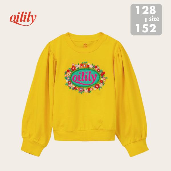 【YF21GJE201】長袖 Tシャツ OILILYロゴ×お花刺しゅう イエロー  サイズ128 140 152