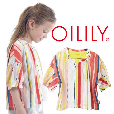 OILILY【YS19GJE226a】カラフルストライプTシャツ<Vタイプ>  92 104 116 122 140 152サイズ