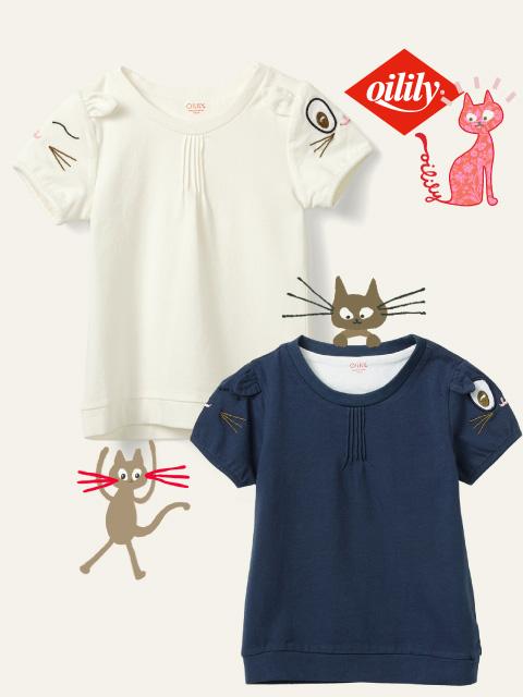 OILILY【YS20GJE005】袖 ネコさんモチーフTシャツ 2色展開  size 80 92 104 116 128