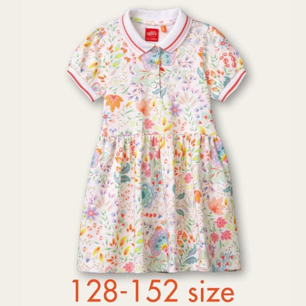 【YS21GDR082】ポロ型カットワンピース 襟付き 128 140 152サイズ