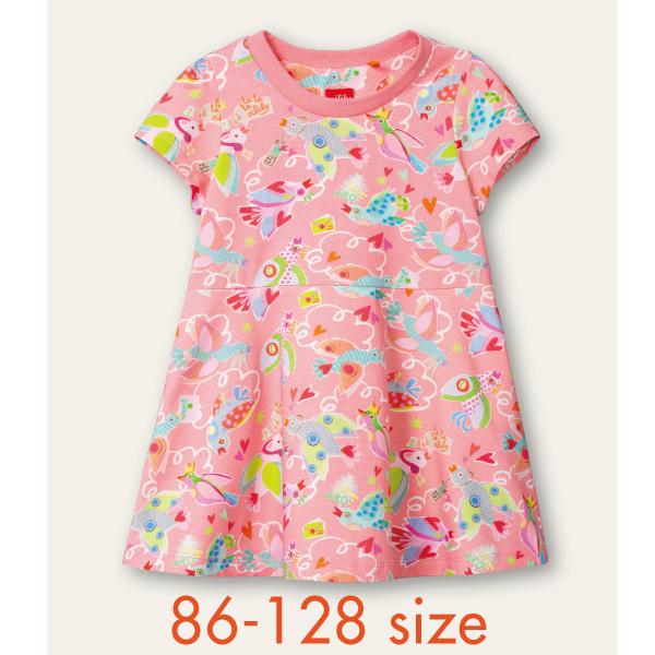 【YS21GDR084】小鳥カットワンピース ピンク  86 92 104 116 128サイズ