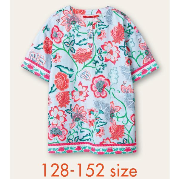 【YS21GDR205】大花柄 ブルー ワンピース  128 140 152サイズ