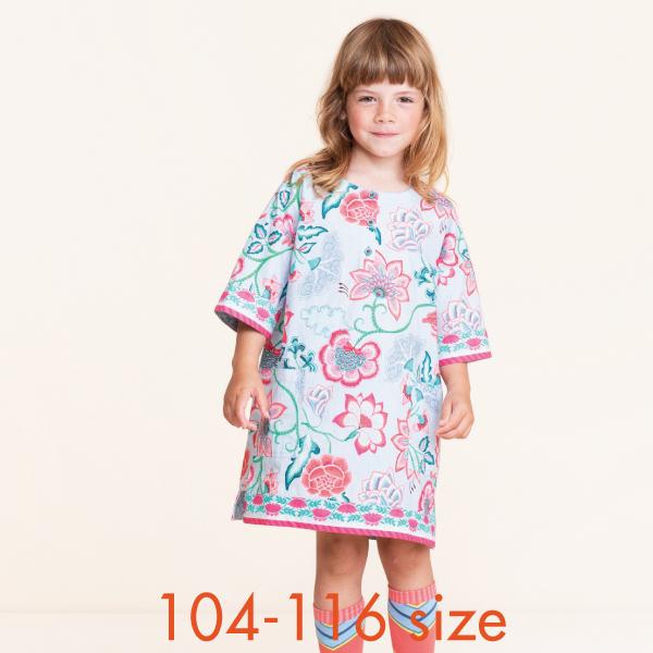 【YS21GDR205】大花柄 ブルー ワンピース 104 116サイズ