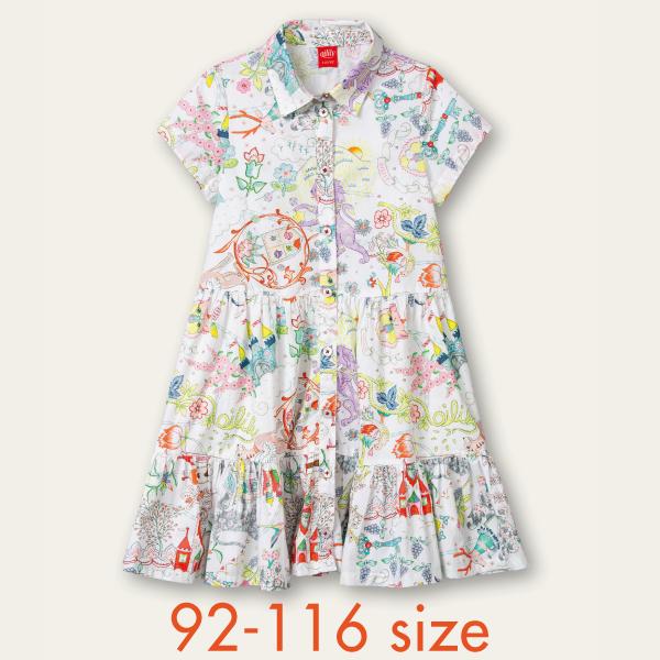 【YS21GDR208】夢のお城 プリント ワンピース 92 104 116 サイズ