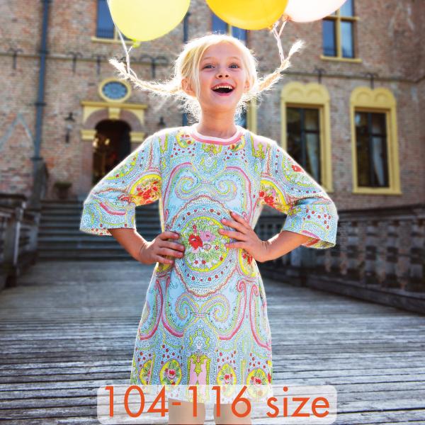 【YS21GDR263】オイリリーオベーションプリント スウェット素材ワンピース 104 116 サイズ