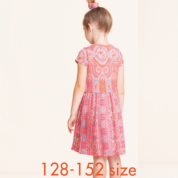 【YS21GDR284】オベーションプリント  プリーツ ワンピース  128 140 152サイズ