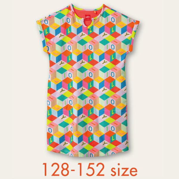 【YS21GDR286】ブロック柄  カットワンピース 128 140 152サイズ