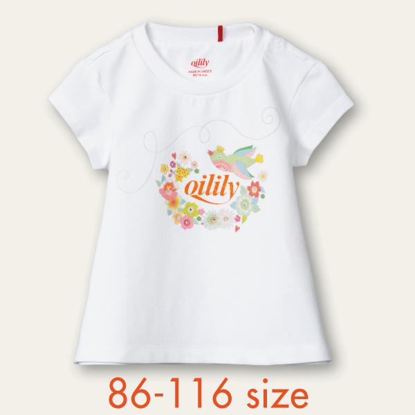 【YS21GJE008】小鳥  Tシャツ  白 86 92 104 116 128サイズ