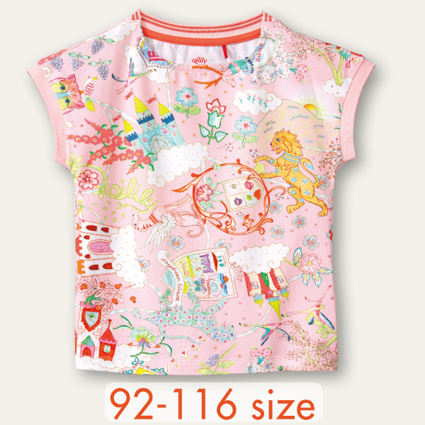 【YS21GJE205】夢のお城 ピンク Tシャツ 92 104 116サイズ