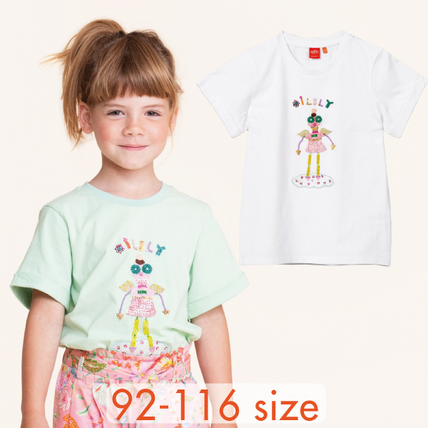 【YS21GJE221】ロボットエンジェル ビーズ Tシャツ  2色 ホワイト グリーン 92 104 116サイズ