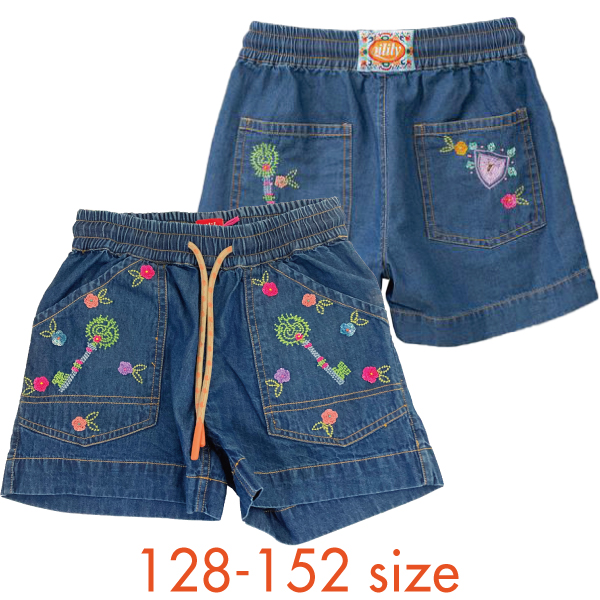 【YS21GPA203】 デニム 刺繍ショートパンツ 128 140 152サイズ