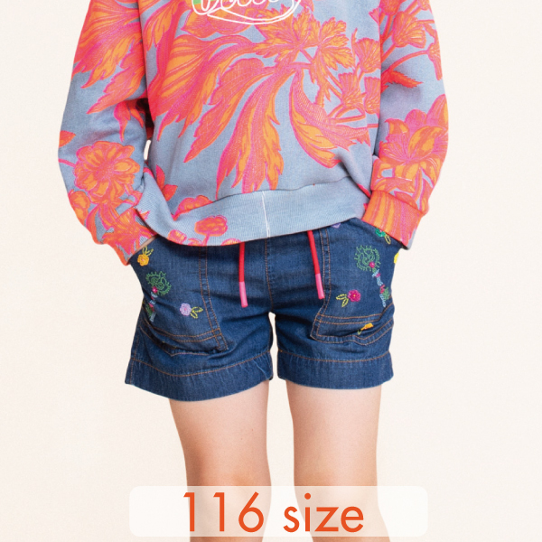 【YS21GPA203】デニム 刺繍ショートパンツ 116サイズ