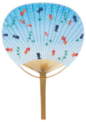 名入れうちわに最適な竹うちわ コンパクトサイズは持ち歩きにも便利!泡金魚 No.002