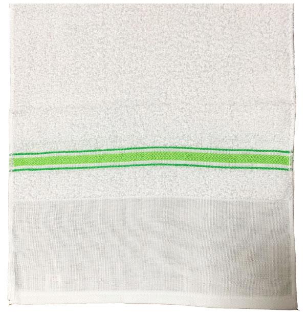鮮やかなグリーンのボーダー織が人気!(日本製)240匁グリーンボーダー織タオル ポり袋入り1ダース(12枚)