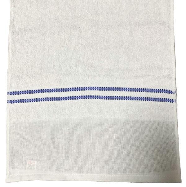 シンプルな青のラインが定番の人気!(日本製)200匁ボーダー織タオル「隼」ポり袋入り1ダース(12枚)