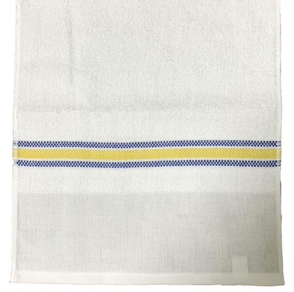 青と黄色のラインがポイント!(日本製)220匁ボーダー織タオル「夕鶴」ポり袋入り1ダース(12枚)