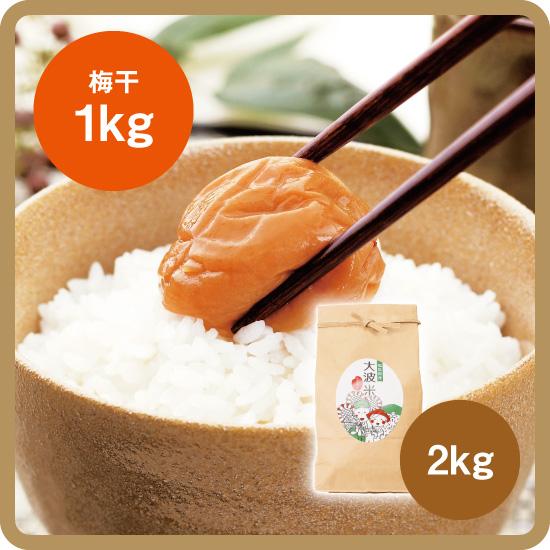 【送料無料・予約商品】大波米セット(大波米[新米]2kg+お好きな梅干1kg)<発送日:12月下旬>/後払い限定(クレカ不可)