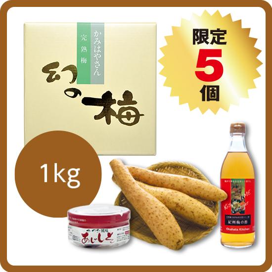【送料無料・予約商品】長芋セット<2>(長芋5kg+お好きな梅干1kgほか)<11月中旬より発送>