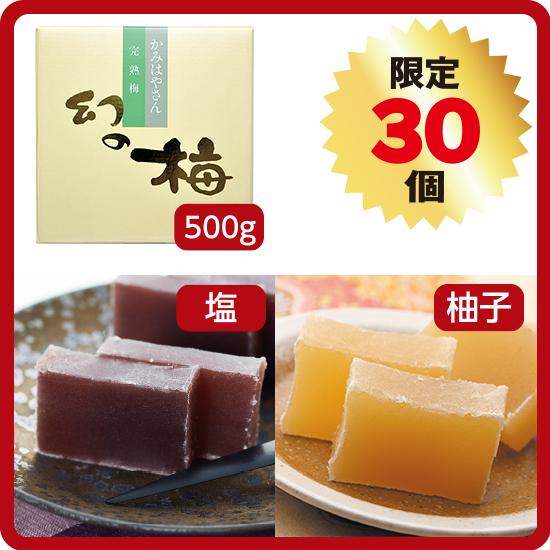 【送料無料】羊羹2種セット<2>(塩+柚子/お好きな梅干500g)<発送日:9/11、18、10/2限定>