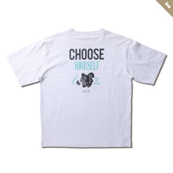 221-065005wh / AKTR / POWER NICK TEE / CHOOSE YOURSELF / アクター / Tシャツ / WHITE / 白