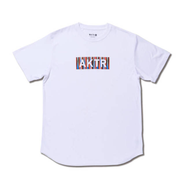 119-072005-WH / 【2019春夏新作】 / SUMMER STRIPE BOX LOGO SPORTS TEE / WHITE / Tシャツ / AKTR / アクター / メンズ / バスケットボール