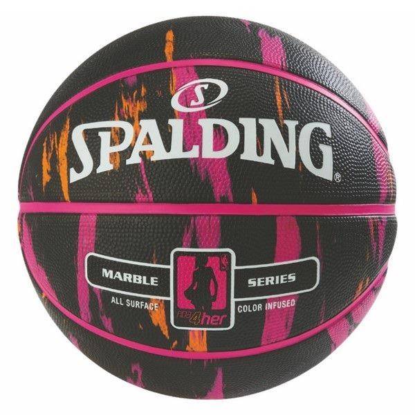 83-875Z/ SPALDING /マーブル フォーハー ブラック/ピンク ラバー 6号球/ バスケットボール / スポルディング