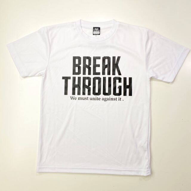 【ポリエステル】 BREAK THROUGH / 琉球新報×ステップバイステップ / コラボTシャツ / ホワイト / BT-2001-wht