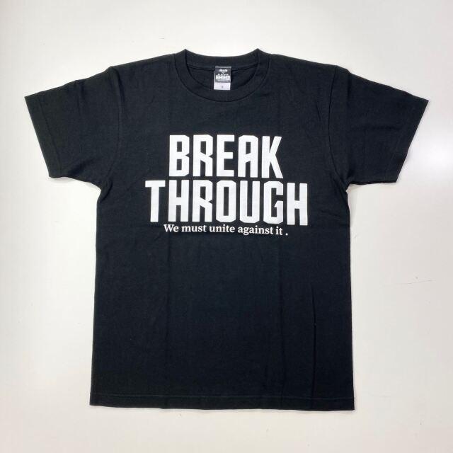 【コットン】 BREAK THROUGH / 琉球新報×ステップバイステップ / コラボTシャツ / ブラック / BT-2001-cotton-blk