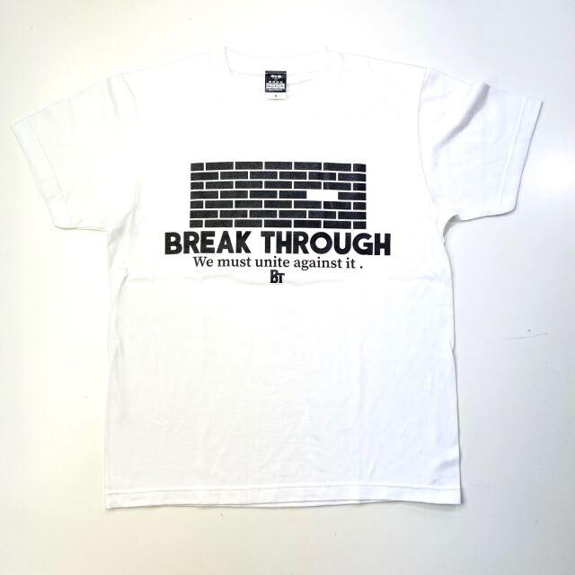 【コットン】 BREAK THROUGH WALL / 琉球新報×ステップバイステップ / コラボTシャツ / ホワイト / BTW-2002-cotton-wht
