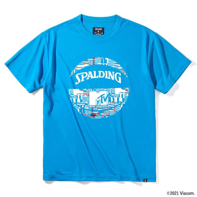 SMT211540-blu Tシャツ MTVノーシグナル スチールブルー SPALDING