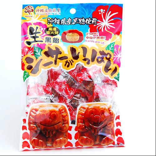 沖縄旅行/修学旅行/沖縄お土産/ オキコ 形が可愛くて美味しい 生黒飴シーサーがいっぱい 100g 4962516099908