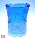 琉球ガラス泡ハーフ4インチコップ青