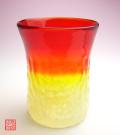 琉球ガラス泡ハーフ4インチコップ赤